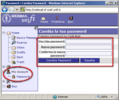 Modifica password