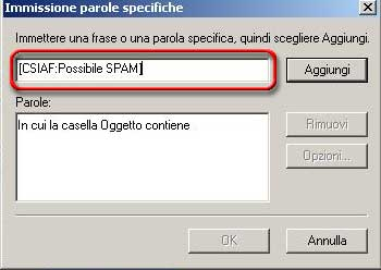 Immissione parole specifiche